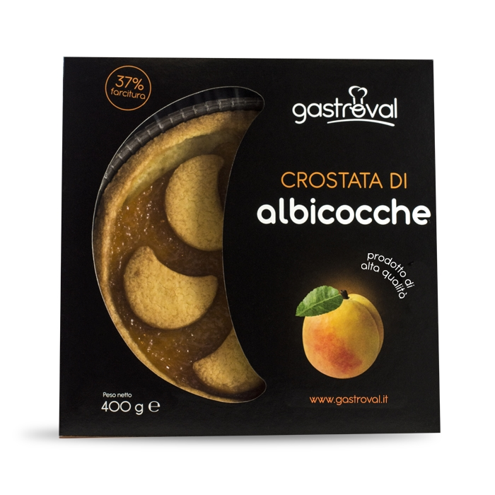 """confezione di cartone contenente crostata alle albicocche, con scritta """"crostata di albicocche"""" e immagine del frutto albicocca"""