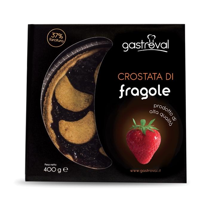"""confezione di cartone contenente una crostata alle fragole, con scritta """"fragole"""" e immagine di una fragola"""